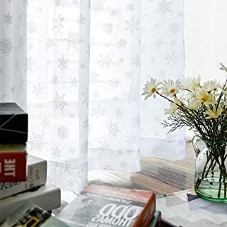White Sheer Curtains Winter Snow Curtains for Bedroom 95 inches Long Snowflake Sheer White Curtains for Living Room Decor Print Curtains Drapes Rod Pocket 2 Panel