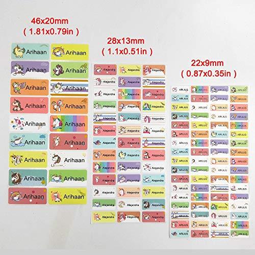 PMSMT Pegatinas de Nombre Impermeables de Unicornio de Dibujos Animados de 3 tamaños, Pegatina Personalizada para niños, papelería, Etiqueta Personalizada, Uso para papelería