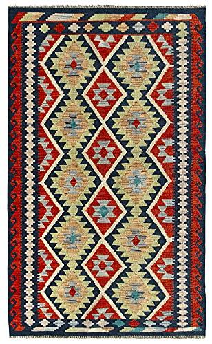 HAMID Alfombra Kilim Herat - 100% Lana Tejida a Mano - Alfombra étnica de salón, Dormitorio, Comedor (159x99cm)