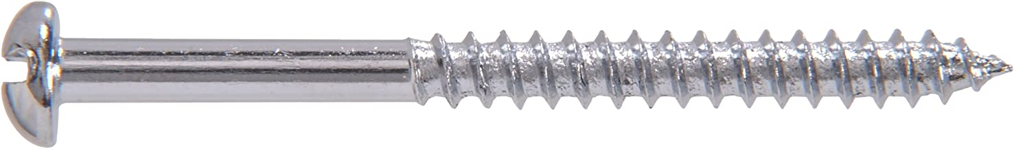 The Hillman Group The Hillman Group 1401 8 X 2 In. Chrome Plated Steel Round Head Slotted Wood Screw 32-Pack