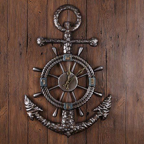Retro Ship Pike Style Metal Retro Mute Clock (no Battery) - Bronze 40 * 60cm