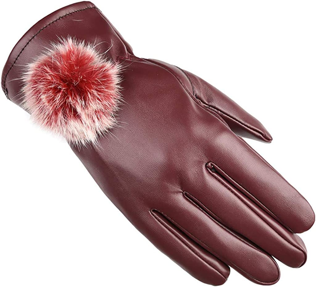 Women's Warm Winter Cold And Warm Windproof Waterproof Pompom Decoration Mittens Can Touch Screen Leather Gloves