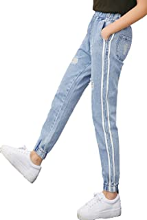 [美しいです] レディース ズボン 九分パンツ ジーンズ デニム ダメージデニム カジュアル チノパン スリム スキニー ストレッチ テーパードパンツ ゴムひも