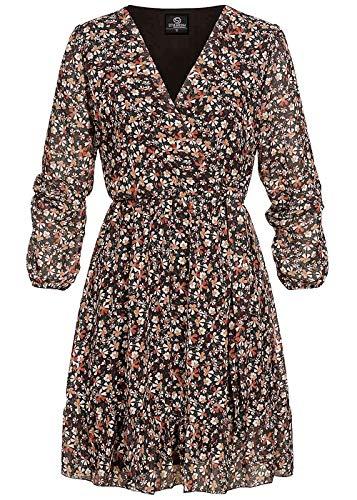 Styleboom Fashion® Damen V-Neck Chiffon Kleid Blumen Muster Wickeloptik schwarz mc