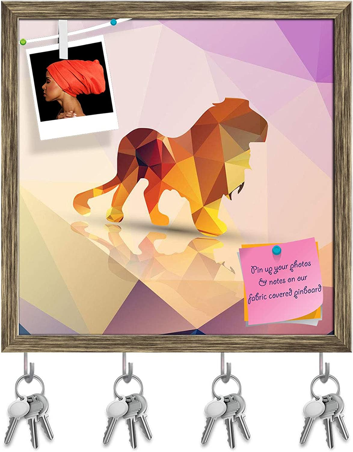 Artzfolio Geometric Polygonal Lion Key Holder Hooks   Notice Pin Board   Antique golden Frame 20 X 20Inch