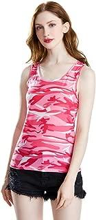 lehao397 Sleeveless Camouflage Tank Tops Women's Fashion Casual O-Neck Vest Camo Shirts,L,Pink