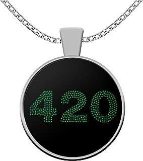 sarothdesignstore Weed lovers necklace - marijuana 420 leaf pot symbol - stoner rasta reefer gifts - ganja accessories