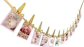 E&L Unicorn Horn Photo Banner, 1st Birthday Baby, Sweet Heart First Birthday Photo Banner, for First Birthday Party Decorations, Monthly Milestone Photo Banner, Justborn to 12 Months Photo Banner