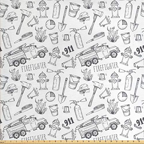 Lunarable Fire Truck Fabric by The Yard, Hand Drawn Style Firefighter Pattern Emergency Rescue Mission, Decorative Fabric for Upholstery and Home Accents, 2 Yards, Charcoal Grey