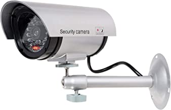 WALI Bullet Dummy Fake Surveillance Security CCTV Dome Camera Indoor Outdoor with 1 LED Light, Warning Security Alert Sticker Decals (TC-S1), Silver