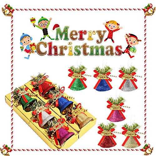 PINPOXE Campana de Navidad, Campanas pequeñas, Campanas de Colores, Campanas de Navidad, Campanas Campanas Colgantes de árbol de Navidad para Hacer Joyas Decoración navideña DIY como Regalo