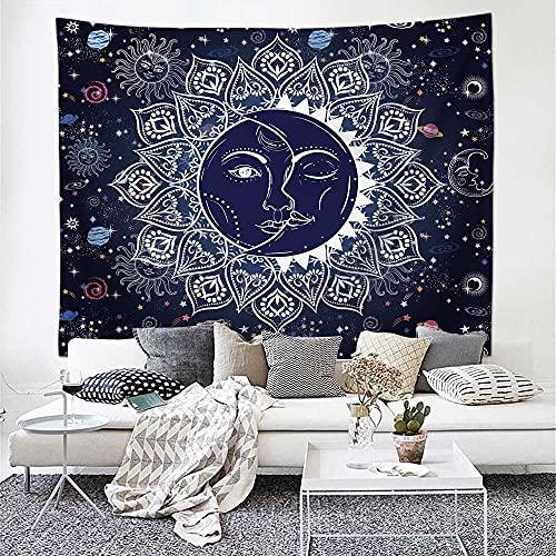 PPOU Bohemia Sol y Luna Tapiz Colgante de Pared meditación Hippie Tapiz brujería Fondo Tela Manta Tela Colgante A7 73x95cm