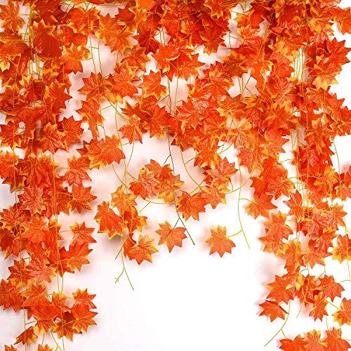 Noverlife - 12 viti artificiali in foglia di acero da 27,5 m, foglie di foglie autunnali, ghirlanda da appendere per casa, giardino, hotel, matrimoni, feste, decorazioni, Halloween, Ringraziamento