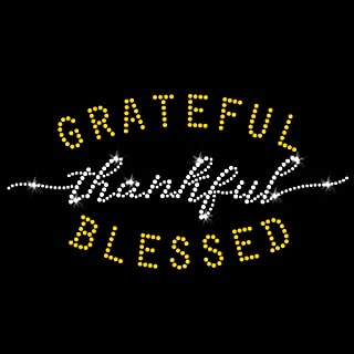 Grateful Thankful Blessed Thanksgiving Iron On Rhinestone & Rhinestud T-Shirt Transfer by JCS Rhinestones