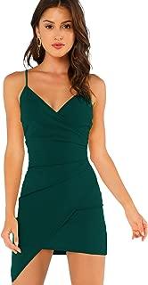 Verdusa Women's Sexy Ruched Side Asymmetrical V Neck Bodycon Cami Dress