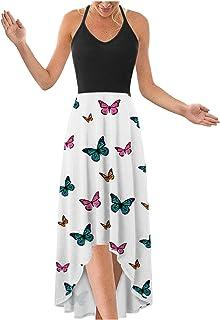 فستان ماكسي للنساء فستان صيفي بطبعة الفراشة الوطنية بياقة على شكل V وحزام سباغيتي غير متماثل