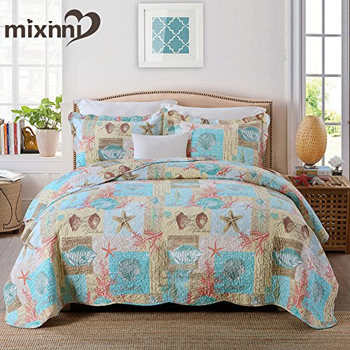 mixinni Seashell Quilt Set, 100% Soft Cotton Bedding, Starfish Coral Pattern Printed on Blue/Yellow, Great Gift for Girls Boys Kids Teens(2pcs, Twin Size)