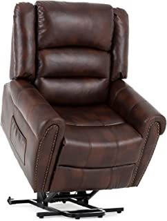 Mecor Power Lift Chair,Lift Recliners for Elderly,Reclining Lift Chairs with Dual Motor,Pu Leather Sleeper Recliner Chair with Massage/Heat/Vibration/Remote Control for Living Room. (Dark Brown)