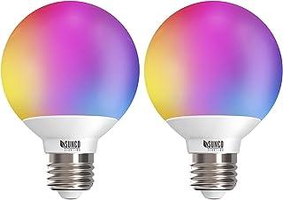 Sunco Lighting 2 Pack WiFi LED لامپ هوشمند ، G25 ، 5W ، تغییر رنگ (RGB و CCT) ، Dimmable ، سازگار با Amazon Alexa و دستیار Google - هیچ هاب لازم نیست