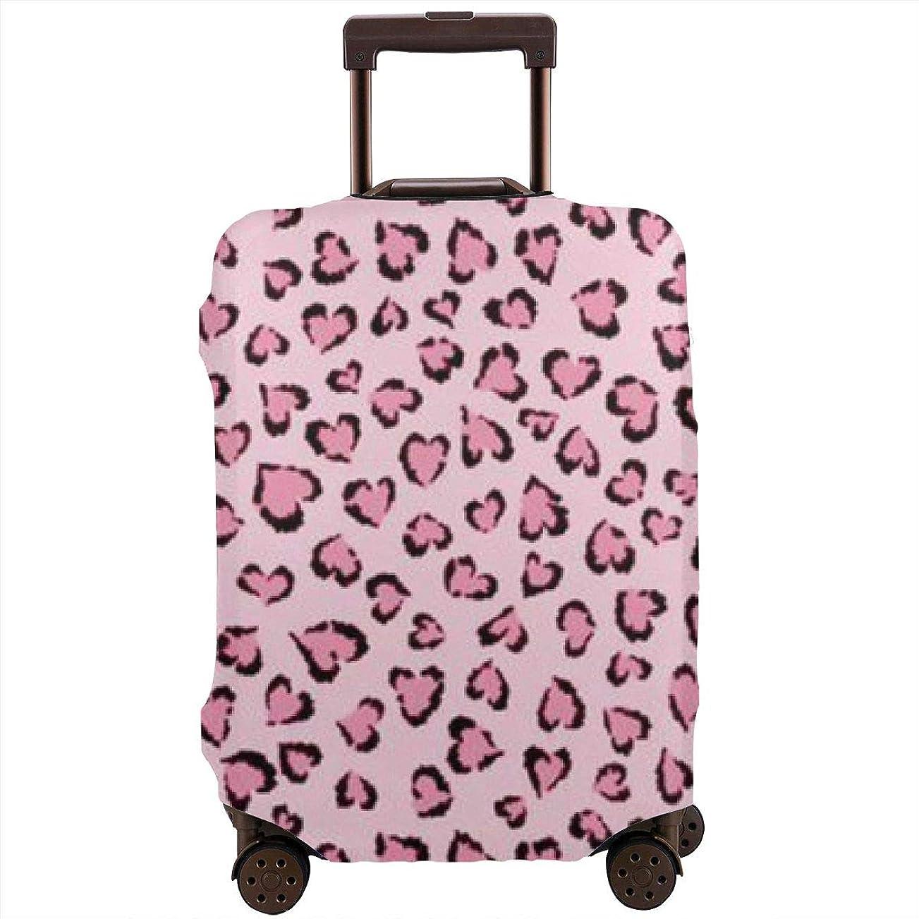 防腐剤アーサー出演者ピンクの豹柄 スーツケースカバー 伸縮弾性素材 スーツケース保護カバー ラゲッジカバー 通気性 傷防止 防塵カバー S-XL