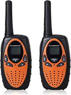 Floureon Kids Twin Walkie Talkies 2 Way Radios 22 Channel 3KM(1.9MI) Interphone Auto Scan with LCD Backlit Display (Orange)