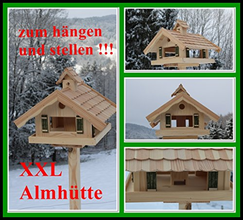 Vogelhaus XXL Almhütte (V87) Vogelhäuschen aus Holz, großes Futtersilo