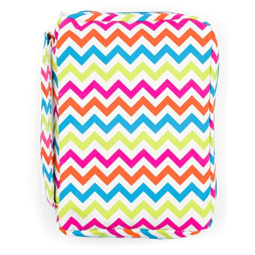 Good Ruby Compact Bible Cover with Carrying Handle, Book Protector with Pocket Colorful Chevron Bible Carrying Case with Zipper and Pen Holder for Women, Teens, Girls, Females (Multi-Colored)