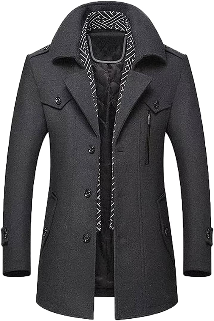 Men's Wool Coats Middle Long Scarf Collar Cotton-Padded Thick Warm Woolen Coat Male Trench Coat Overcoat