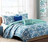 Home Style Boho Chic Teen Girls Blue Green Full Queen Quilt Medallion Damask Coverlet Set + 2 Shams + 2 Gorgeous Throw Pillows + HS Sleep Mask Quilts Bedspread Bedding Sets for Girl Kids Teens