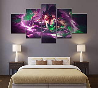 XIAOAGIAO 5 Canvas Prints 5 Panels LOL Heroic Alliance Xayah Rakan Game Canvas Printed Painting Art Decoration HD Photo Artwork Poster Painting on Canvas
