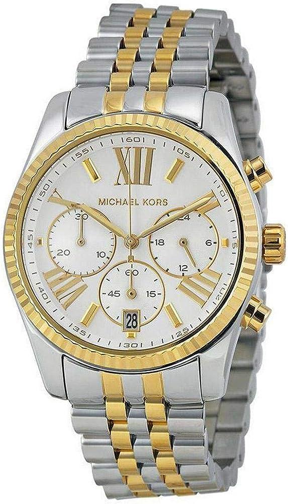 Michael Genuine Kors Women's Two Tone Gold One Lexington Silver Free Shipping New Watch
