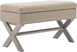 Fabric Upholstered Storage Entryway Bench, 36 inch Bedroom Bench Seat with X-Shaped Wood Legs for Living Room, Foyer or Hallway by Chairus - Beige