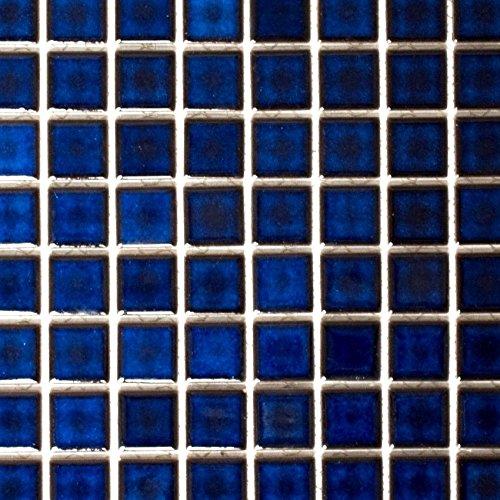 Mosaico de azulejos de cerámica azul cobalto brillante para pared, baño, ducha, cocina, espejo, revestimiento de bañera, alfombrilla de mosaico.