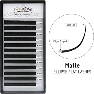 LASHVIEW Flat Mink Black SUPER MATTE Ellipse Eyelash Extension 0.20mm Thickness 9mm Length D Curl Semi-permanent Individual Extremely Soft Application-friendly Lashes For Professional Salon Use