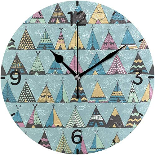 Wjchao Wall Clock Wall Clock Silent Battery Operated Non Ticking American Summer Tent Round Acrylic Quiet Clocks