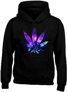 Shop4Ever Marijuana Leaf Galaxy Hoodies Weed Smokers Hoodies