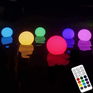 HOMLY Floating Led Pool Lights With Remote RF, 4 Packs Light Up Pool Balls, 16 Color Changing Glow Balls Battery Powered, ...
