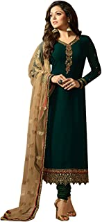 W Ethnic Women's Georgette & Santoon Semi-stitched Salwar Suit (Green_Free Size)