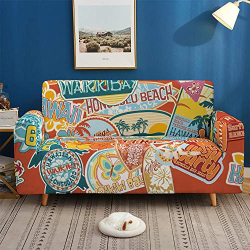 HXTSWGS Funda de sofá Antideslizante,Impresión 3D Fundas de sofá Coloridas, Fundas elásticas, Estiramiento elástico seccional para Sala de Estar Funda de sofá en Forma de L-BDB74_2 plazas 145-185cm