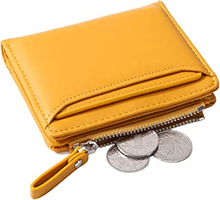 Altally Wallets for Women Small Bifold Leather Lady Short Wallet with Removable ID Card Holder Slots (Yellow)