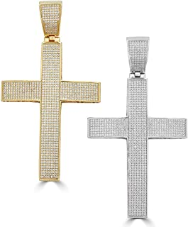 2x1.5 20 Grams 14k Gold Plated Harlembling Solid 925 Sterling Silver Iced Out Cross Pendant Fits Up to 8mm Chains! Mens