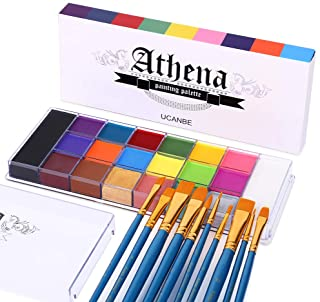 UCANBE Face Body Paint Set - Athena Painting Palette, 10 Professional Artist Brushes - Large Deep Pan,Ideal for Halloween ...