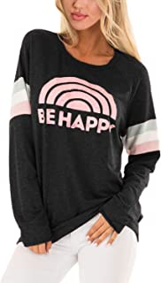 Womens Tops Long Sleeve T Shirt Tops Casual Funny Print Striped Pullover Tunic Sweatshirt