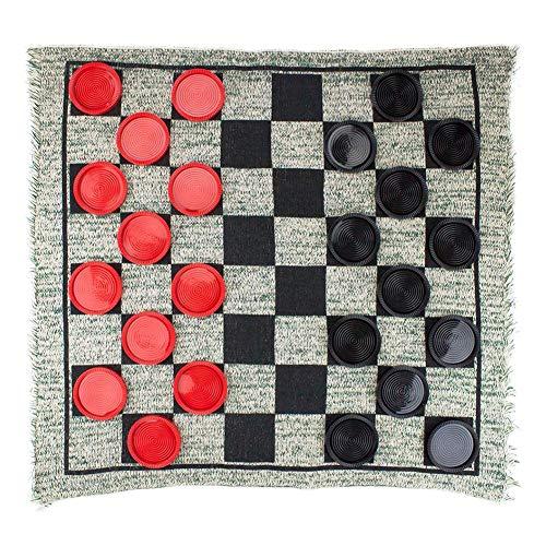 3-in-1 Giant Jumbo Checkers,Brettspiel mit großen Teppichcheckern Mega Tic Tac Toe Set mit Wendeteppich Jumbo-Brettspiele für drinnen und draußen für Kinder und Erwachsene Family Fun Parties Game Toys