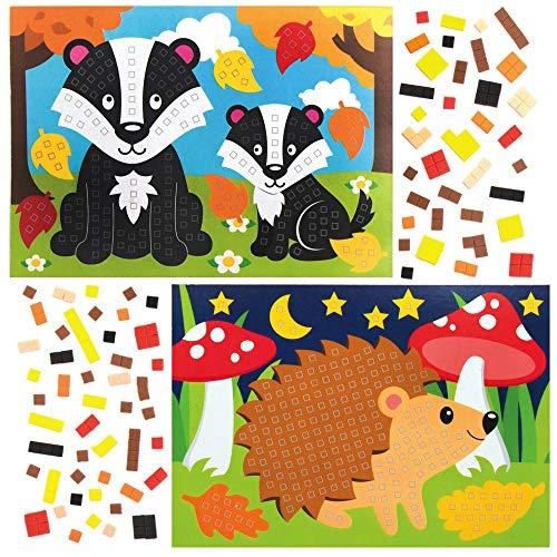 Baker Ross AX209 Waldtiere Mosaik Deko Anhänger Bastelset für Kinder - 4 Stück, Festliche Kreativsets und Bastelbedarf zum Basteln und Dekorieren zur Weihnachtszeit