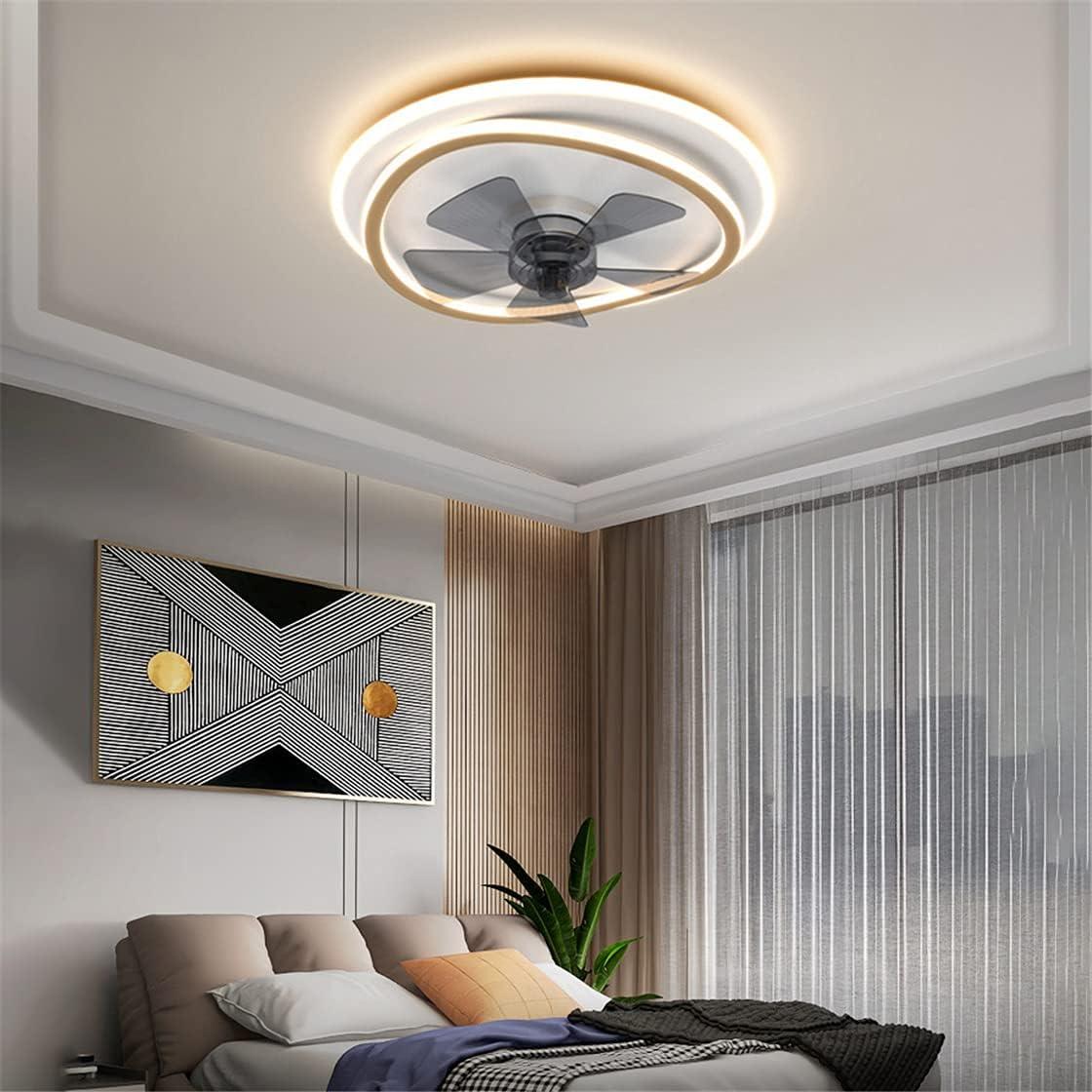 OMGPFR Ventilador de Techo LED Moderno con lámparas, Luz de Techo Regulable silenciosa con App Iluminación de Ventiladores de Techo Reversibles Luces de Velocidad del Viento Ajustables