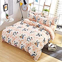 KFZ Cool Baby Panda Bat Moon Printed Bed Set Twin Full Queen King Sheets Set, Duvet Cover (Without Comforter), Flat Sheet and 2 Pillow Cases Bedding Set for Kids (Cool Panda,Pink, Full 70
