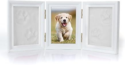 YAMI - Marco de fotos plegable triple con diseño de huellas de gato o perro