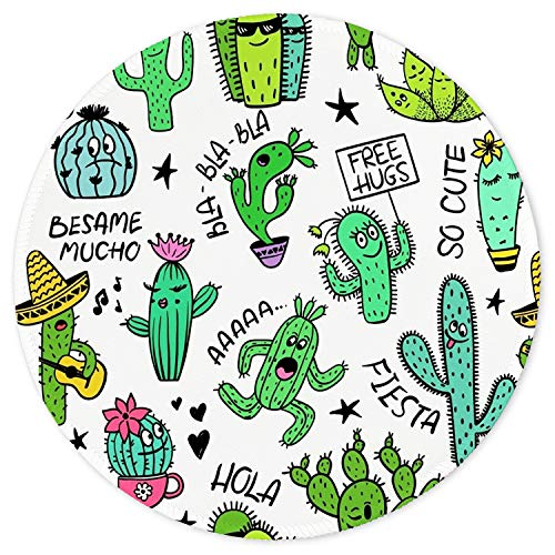 ITNRSIIET Mouse Pad, Cute Cactus Design Round Mousepad. Customized Gaming Mousepads for Laptop and Computer. Cute Design Desk Accessories. Non-Slip, Stitched Edges, Waterproof