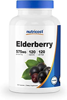 Nutricost Elderberry Capsules 575mg (120 Capsules) - Veggie Capsules, Gluten Free and Non-GMO Black Elderberry Supplement